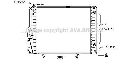 MS2072 Радиатор двиг Mercedes W124 2,6-3,2
