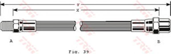 PHB202 Шланг тормозной передн VW: GOLF I/II, PASSAT -88, AUDI: 80 -91