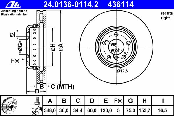 24013601142 Диск тормозной передн прав, 2-секционнный, BMW: 5 535 d/535 d xDrive/535 i/535 i xDrive/ActiveHybrid 10-, 5 GRAN TUR