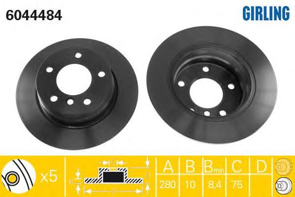 6044484 Диск тормозной BMW 1 E81/E87 1.6/2.0 04- задний D=280мм