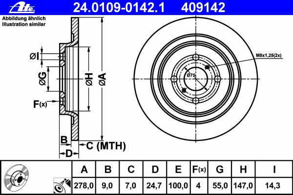 24010901421 Диск тормозной задн, DAIHATSU: CHARADE 1.33 16V 11-  TOYOTA: YARIS 1.0/1.3/1.3 VVT-i/1.4 D-4D/1.5 Hybrid 10-, YARIS