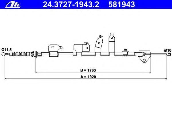 24372719432 Трос стояночного тормоза правый