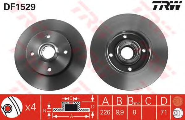 DF1529 Диск тормозной VOLKSWAGEN GOLF2/3/PASSAT/VENTO 8897 1.8/1.8GTi/2.0 задний