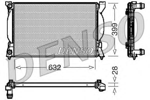 DRM02033 Радиатор системы охлаждения AUDI: A4 (8E2, B6) 1.6/1.8 T/1.9 TDI/1.9 TDI quattro/2.0/2.0 FSI 00 - 04 , A4 Avant (8E5, B