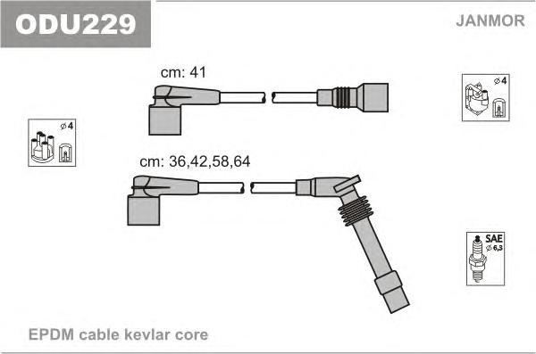ODU229 Комплект проводов зажигания OPEL: ASTRA 94-, COMBO 94-01, CORSA B 93-00