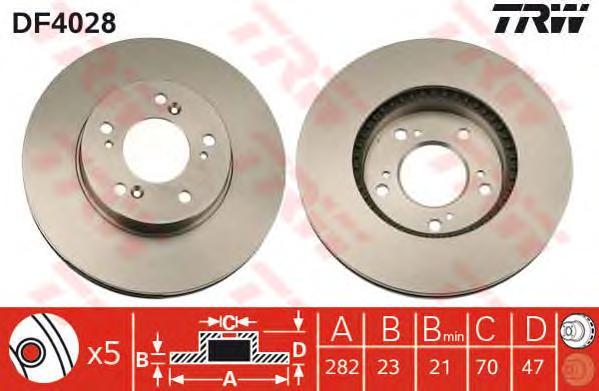 DF4028 Диск тормозной HONDA CR-V I 2.0 9502/H-RV 97/PRELUDE 9600 передний вент.
