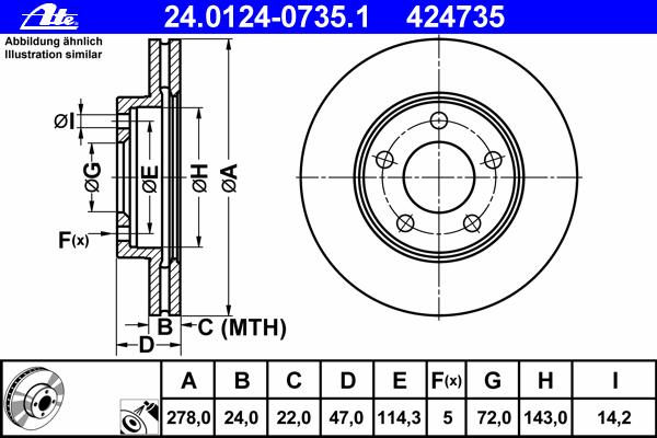 24012407351 Диск тормозной передн, FORD: MAVERICK 2.0 16V/2.3 16V/3.0 V6 24V 01-  MAZDA: TRIBUTE 2.0/2.0 4WD/3.0 V6 24V 4WD 00-0