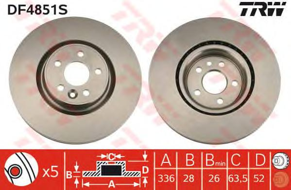 DF4851S Диск тормозной VOLVO S80 06-/V70 07-/XC70 05- передний вент.D=336мм.