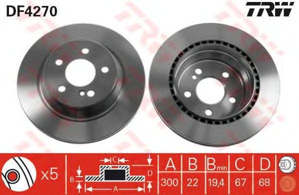 DF4270 Диск тормозной MB W211/W212/W204/W219 задний