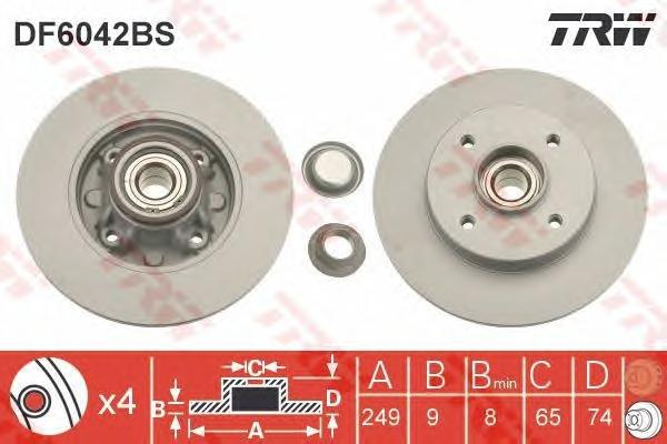 DF6042BS Диск тормозной CITROEN C4 04-/PEUGEOT 308 07- задний с подшипником
