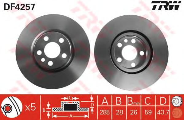 DF4257 Диск тормозной CITROEN C8/JUMPY/FIAT SCUDO/PEUGEOT 807/EXPERT передний вент.