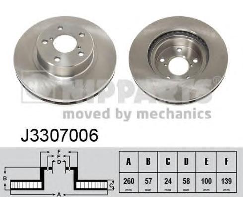 J3307006 Диск тормозной SUBARU IMPREZA 1.6-2.0 92-/LEGACY 1.8-2.2 89-99 передний