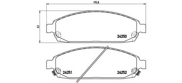 P37010 Колодки тормозные JEEP COMMANDER 3.0-5.8 05-/GRAND CHEROKEE 2.7-5.7 00- передние