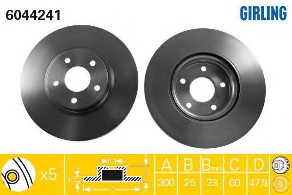 6044241 Диск тормозной FORD FOCUS II/III 04-/VOLVO S40/V50 04-передний вент.D=300мм.
