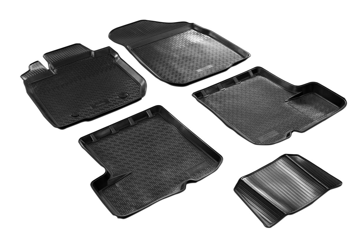 0014703001 Комплект автомобильных ковриков Renault Sandero 2014- , полиуретан, низкий борт, 5 предметов, крепеж для передних ков