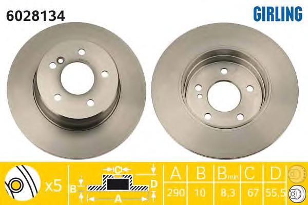 6028134 Диск тормозной MERCEDES W203 180-350/W210 200-430 задний вент.D=290мм.