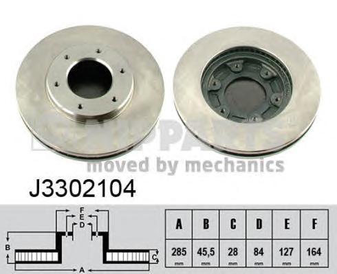 J3302104 Диск тормозной TOYOTA HIACE 95- передний вент.D=285мм.
