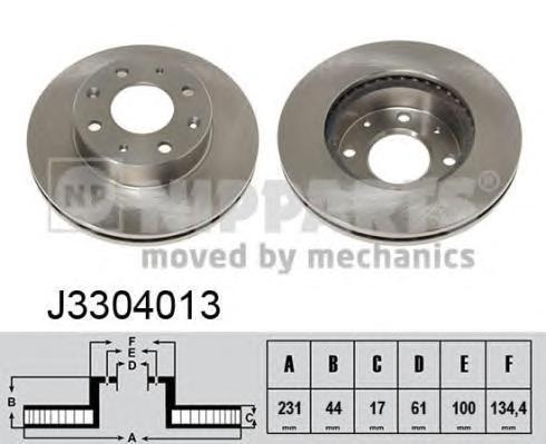 J3304013 Диск тормозной HONDA CIVIC 83-95/ROVER 200 передний вент.D=231мм.