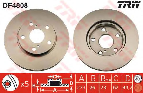 DF4808 Диск тормозной TOYOTA AURIS 07- (пр-во Великобритания) передний вент.D=273мм.
