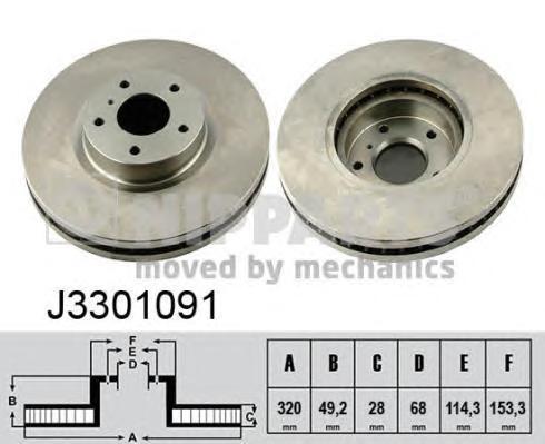 J3301091 Диск тормозной NISSAN MURANO 3.5 05/INFINITI FX35/FX45 05 передний вент.