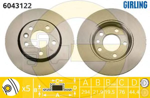 6043122 Диск тормозной VW MULTIVAN V/TRANSPORTER V 03- задний D=294мм.