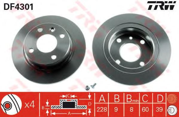 DF4301 Диск тормозной VOLVO 440/460/480 задний D=228мм.