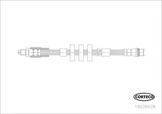 19036628 Шланг тормозной передн PEUGEOT: 3008 1.6HDi, 1.6 THP, 1.6 VTi, 2.0 HDi, 2.0 Hybrid4 06.09-