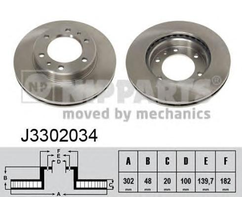 J3302034 Диск тормозной TOYOTA LAND CRUISER 2.4-4.2 75-96 передний