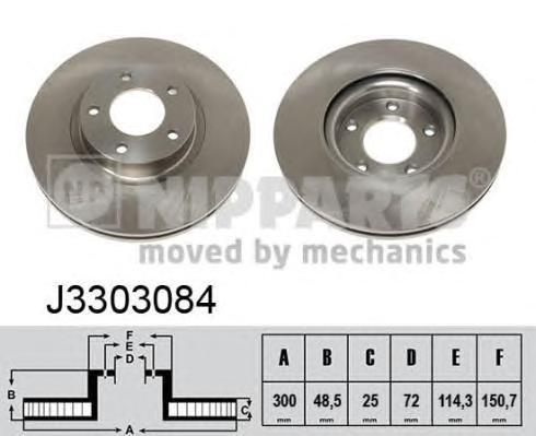 J3303084 Диск тормозной MAZDA 3 2.0 03-/MAZDA 5 R16/17/18 05- передний вент.