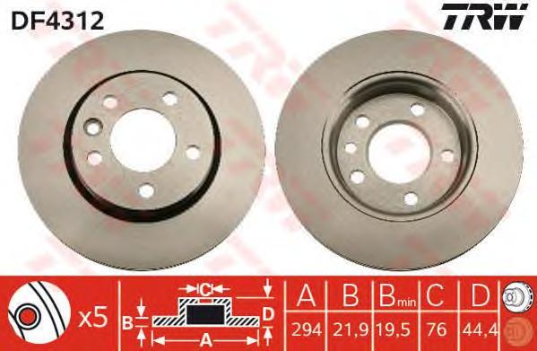DF4312 Диск тормозной VW MULTIVAN V/TRANSPORTER V 03- задний D=294мм.