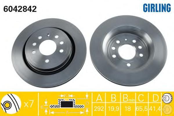 6042842 Диск тормозной OPEL VECTRA 02-/SIGNUM 03-/SAAB 9-3 02- задний вент.D=292мм.