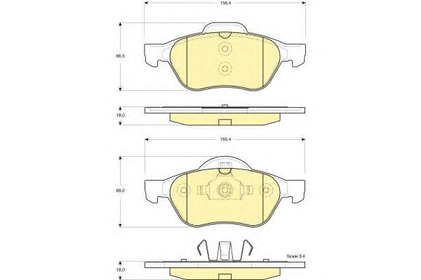 6115402 Колодки тормозные RENAULT MEGANE II/LAGUNA II/SCENIC II передние