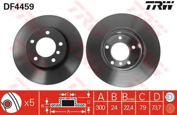 DF4459 Диск тормозной BMW 1 E81/E87/3 E90/E91/E92 передний D=300мм.