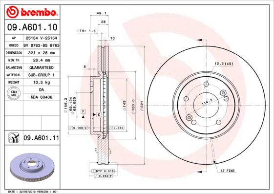 09A60110 Диск тормозной HYUNDAI SANTA FE (SM) 05-06/(CM) 06- передний вент.D=321мм.