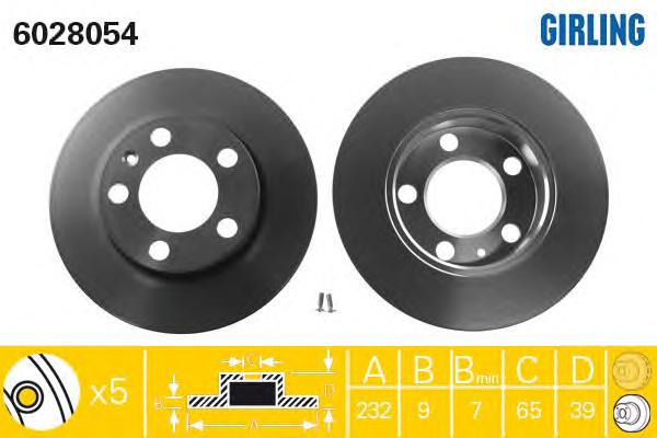 6028054 Диск тормозной AUDI A3 9703/VOLKSWAGEN G4/G5/POLO 02 R15 задний