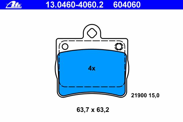 13046040602 Колодки тормозные дисковые задн, MERCEDES-BENZ: C-CLASS C 180/C 200/C 200 CDI/C 200 D/C 200 D/C 220/C 220 CDI/C 220