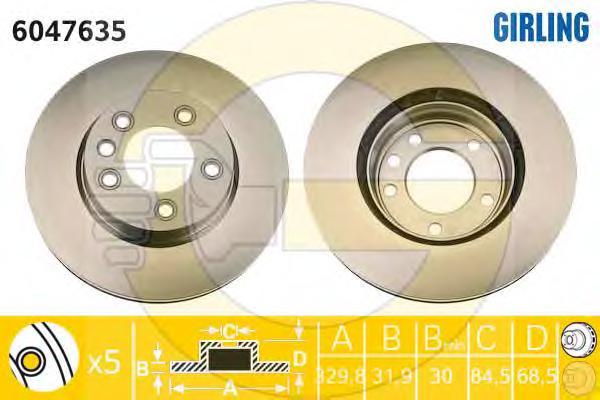 6047635 Диск тормозной VOLKSWAGEN TOUAREG 03/PORCHE CAYENNE 03 R17 передний прав.вент.