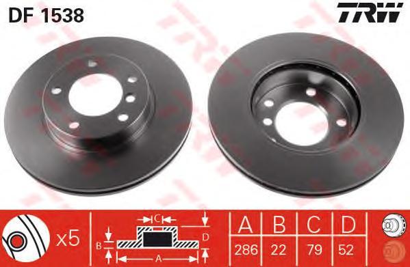 DF1538 Диск тормозной BMW E36 318-328 90-98/E46 316-323 98-05 передний D=286мм.