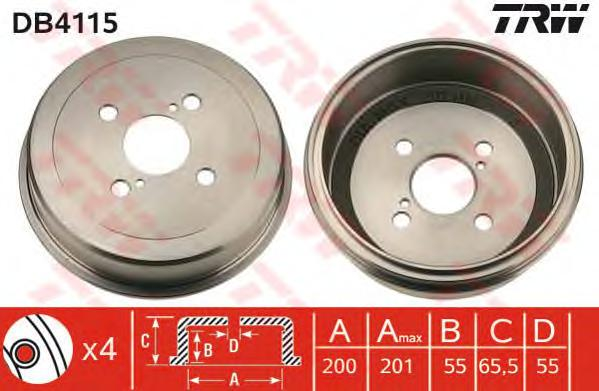 DB4115 Барабан тормозной TOYOTA COROLLA 92-02