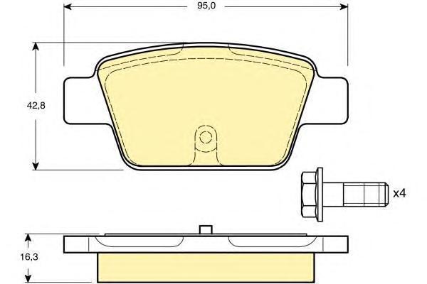 6114854 Колодки тормозные ALFA ROMEO MITO 08-/FIAT LINEA 07-/MULTIPLA 99-/STILO 01- зад.