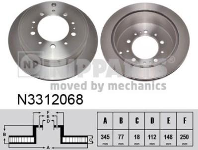 N3312068 Диск тормозной TOYOTA LAND CRUISER J200 4.5D/4.7 07-/LEXUS LX570 08- задний