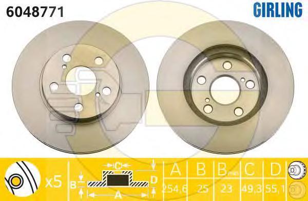 6048771 Диск тормозной TOYOTA CARINA E 1.6-2.0 92-95/CELICA 1.8 93- передний вент.