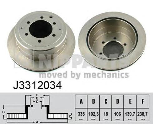 J3312034 Диск тормозной TOYOTA LAND CRUISER J80 4.2-4.5 90-97 задний вент.D=335мм.