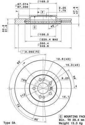 09R10311 Диск тормозной MERCEDES ML W164/GL X164/R W251 05- передний вент. D=350мм.