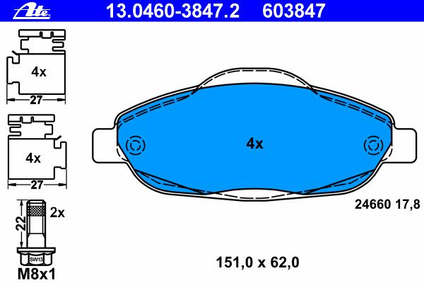 13046038472 Колодки тормозные дисковые передн, PEUGEOT: 3008 1.6 HDi/1.6 VTi 09-, 308 1.4 16V/1.6 16V/1.6 BioFlex/1.6 HDi/2.0 HD