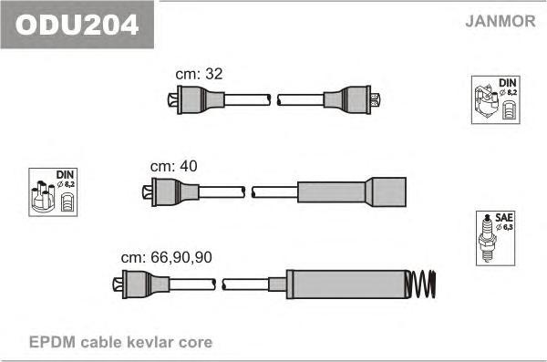 ODU204 Комплект проводов зажигания OPEL: VECTRA A 88-95, VECTRA A хэтчбек 88-95
