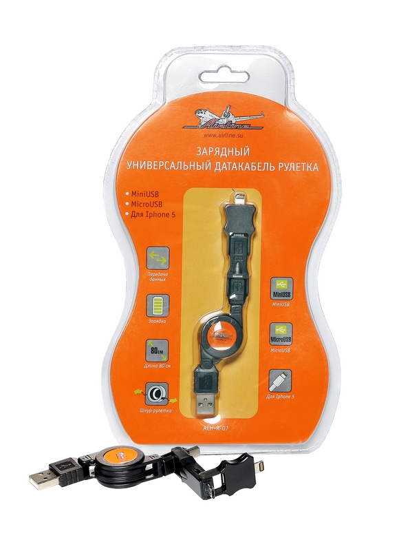 ACHR07 Зарядный универс. датакабель рулетка miniUSB/microUSB/для IPhone 5 ()
