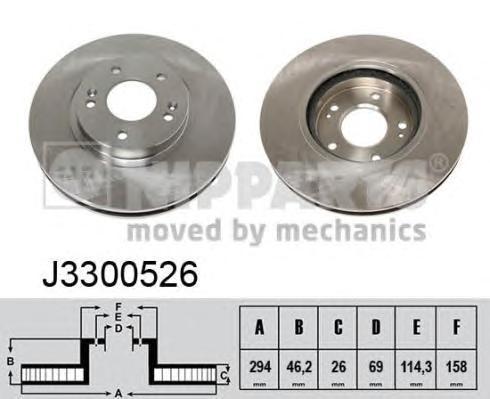 J3300526 Диск тормозной HYUNDAI SANTA FE (SM) 2.0-2.7 01- передний вент.D=294мм.