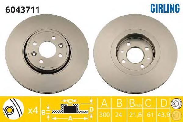 6043711 Диск тормозной RENAULT SCENIC II/GRAND SCENIC II 1.5-2.0 03- перед. вент.D=300мм