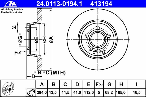 24011301941 Диск тормозной задн, FORD: GALAXY 2.8 V6 95-06  SEAT: ALHAMBRA 1.8 T 20V/1.9 TDI/1.9 TDI 4motion/1.9 Tdi 4x4/2.8 V6/